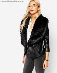 oasis womens black efcb672lltp faux fur collar real leather biker jacket