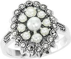 Серебряное <b>кольцо Марказит HR1271-zhemchug-mr</b> с жемчугом ...