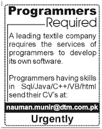 Jobs Opportunities In Textile Company For It Programmers
