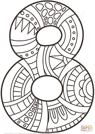Small Picture Number 8 Zentangle Coloring Page Free Printable Pages In