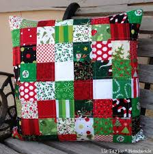 46 best Christmas Quilt Ideas images on Pinterest | Candies ... & Handmade Christmas quilted pillow cover - patchwork vintage modern fabric Adamdwight.com
