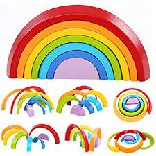 Lewo <b>Wooden Rainbow</b> Learning Toy Geometry Building Blocks ...