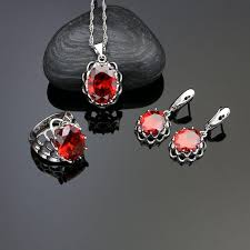 2019 925 sterling silver jewelry sets red stone for women earrings ring necklace pendant from navyjewelry 34 57 dhgate com
