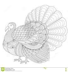 Detailed Zentangle Turkey For Coloring Page For Adult Stock Vector