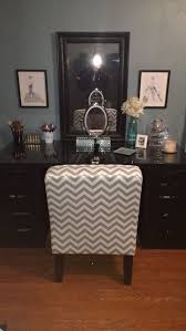 makeup vanity made from 2 alex ikea brown black drawers a table top to match mirror is also from ikea chair is a burke slipper chair from target makeup