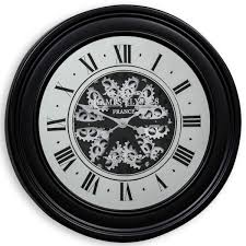 moving gears wall clock with antiqued