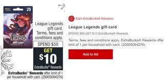 Cvs Buy 50 League Of Legends Gift Card Get 10