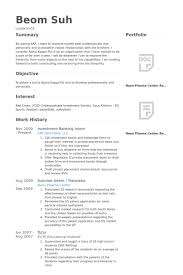 Investment Banking Intern Resume samples
