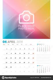 3 Page Calendar Design April 2019 Wall Calendar Planner Template Vector Design