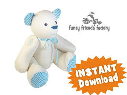 Teddy Bear Sewing Pattern Enchanting Signature Bear Calico Teddy Bear INSTANT DOWNLOAD Sewing Pattern PDF