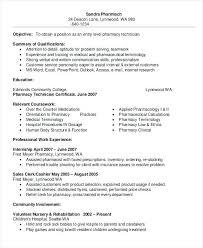 Resume Sample For Pharmacy Technician For Long Term Care Pharmacy