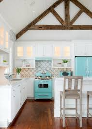 Lovely Bright Beach House Kitchen   White And Turqouise Cobmination With  Wooden Details ...