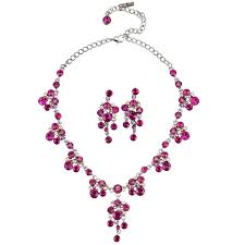 pink crystal necklace and earrings set chandelier drop