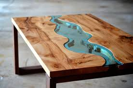 irregular wood and glass river coffee table