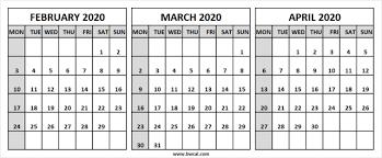 February March April Calendar 2020 Canada Printable Word
