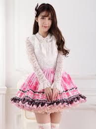 Sweet Pink Lolita Short Skirt Lining Lace Trim Clover Print - Milanoo.com
