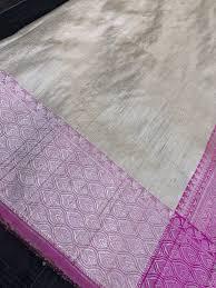 Small Buti Design Tussar Silk Banarasi Golden Beige Pink Small Zari Buti