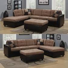 Perfect Sectional Couches Coaster Tan Microfiber And Leatherlike Vinyl Upholstery Reversible Intended Decorating