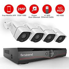 Firstrend 4CH POE Security Camera System with 4X 1080P HD Camera, Plug and Play Amazon.com :