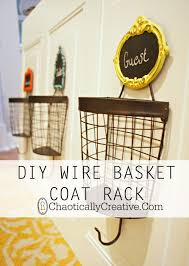 Coat Rack With Storage Baskets DIY Wire Basket Coat Rack Wire basket Coat racks and Mittens 38