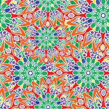Naadloze Kleurrijke Patroon Oosterse Stijl Stof Of Behang Patroon
