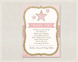 Thank You Cards Baby Shower Stars Ba Shower Thank You Card Stars Pink Gold Thank You Ba Shower
