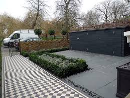 Small Picture Brick garden wall path tile grey topiary London Balham Clapham