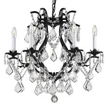 versailles 6 light wrought iron and crystal chandelier