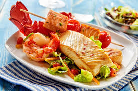 Arrangement Of Seafood Appetizers On ...