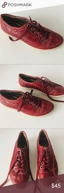 Ecco Shoe Chart Ecco Red Leather Sneakers Size 38 According To The Shoe Size