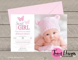 Baby Thankyou Birth Announcement Girl Butterfly Birth Announcement Printable
