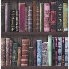 Fresco Wallpaper Bookcases Multicoloured