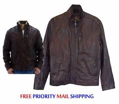 andrew marc ny vandam leather moto jacket medium driftwood brown new nwt 599r