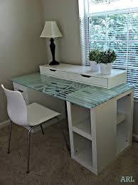 beautiful glass topped ikea desk