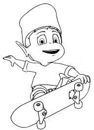 adiboo playing skateboard coloring pages