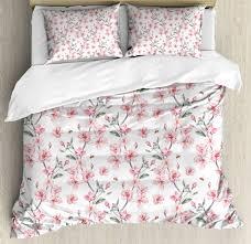 watercolor duvet cover set with pillow shams sakura cherry garden print