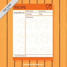 Food Recipe Template Recipe Template With Food Drawings Vector Free Download