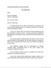 Printable Sample Letter Offer To Junior Lienholder Template