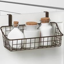 Storage Baskets: Over Cabi Door Basket With Towel Bar In Cabi Door ...