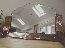 art deco pink glass mirror