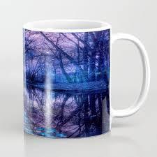 enchanted forest lake purple blue coffee mug