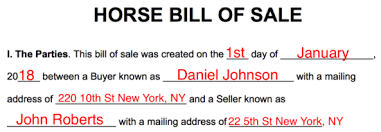 Equine Bill Of Sales Free Horse Bill Of Sale Form Word Pdf Eforms Free Fillable Forms