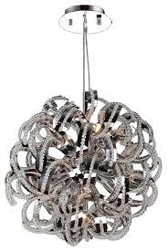 ribbon 9 light chrome crystal pendant suspension chandelier