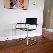bauhaus style chair vintage mid century modern furniture cantilever black leather seat tubular chrome steel frame