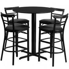 rivera round 24 black laminate bar pub table set w 4 metal barstools