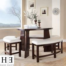 triangle dining table with bench chocolate linen window curtains black leather seat cushion grey velvet seat