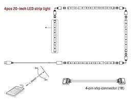 minger led strip lights kit 4 pre cut one foot strips 3 wire quantity