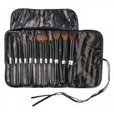 karity professional studio quality 12 piece natural cosmetic makeup brush set w pouch in black zoom