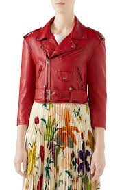 gucci cau marmont embellished leather biker jacket in red multicolor