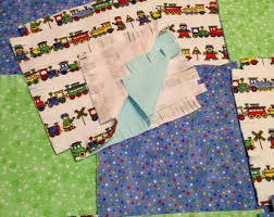 pre cut Rag quilt kit teddy bear angel 75 squares 3 layers & Train teddy bear baby fringed Rag quilt kit, 75 pre cut 8.5